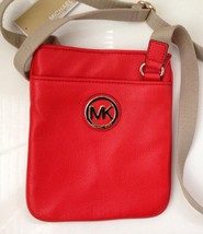 MICHAEL KORS FULTON CROSSBODY LEATHER BAG -RED - NWT - $103.95