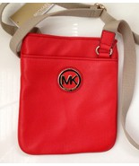 MICHAEL KORS FULTON CROSSBODY LEATHER BAG -RED - NWT - $103.95
