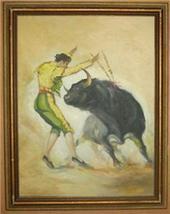 GINO PALAMAS BULL FIGHTER MATADOR ITALY OIL PAI... - $770.05