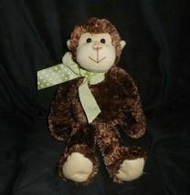 "12"" BEARINGTON COLLECTION BABY BROWN MONKEY GREEN BOW STUFFED ANIMAL PLU... - $36.47"