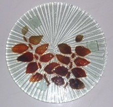 GLASS ART HANDBLOWN FUSED GLASS DESIGNED COLLECTIBLE DISPLAY PLATTER - $140.00