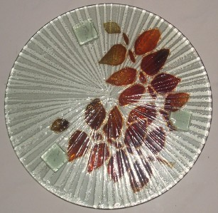 GLASS ART HANDBLOWN FUSED GLASS DESIGNED COLLECTIBLE DISPLAY PLATTER