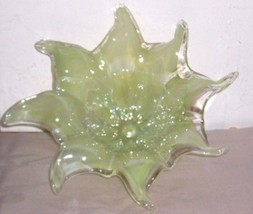 GLASS ART MURANO AQUA GREEN HANDBLOWN FLOWER DISPLAY - $289.14