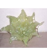 GLASS ART MURANO AQUA GREEN HANDBLOWN FLOWER DISPLAY - $289.14
