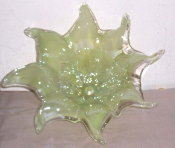 GLASS ART MURANO AQUA GREEN HANDBLOWN FLOWER DISPLAY