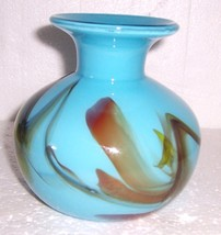 GLASS ART MURANO STYLE BLUE & COLORED DESIGNS VASE - $94.14