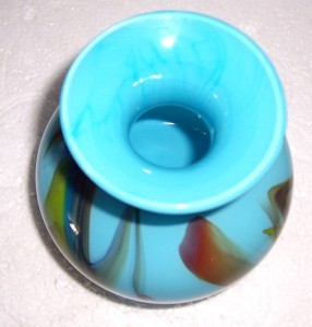 GLASS ART MURANO STYLE BLUE & COLORED DESIGNS VASE