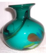 GLASS ART MURANO STYLE GREEN & COLORED DESIGNS VASE - $94.14