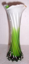 GLASS ART MURANO STYLE ORANGE/GREEN GLASS TULIP VASE - $75.00
