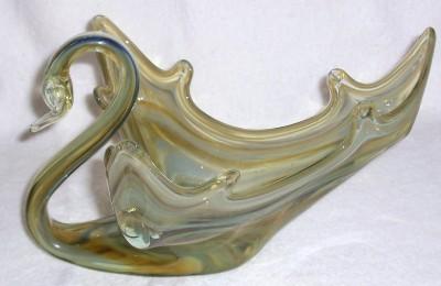 GLASS ART MURANO VENETIAN HANDBLOWN GLASS LARGE SWAN