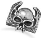 W8081 white brass winged skull ring thumb155 crop