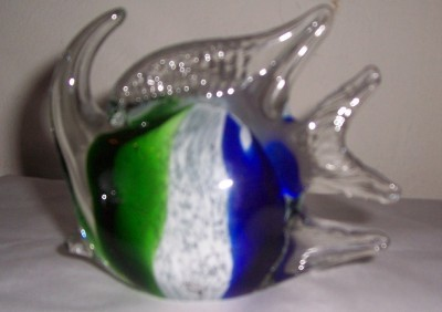 "Glass Art ""Alantis"" Fish Blue/Green & White Invigorating Colors"