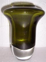 Glass Art Avocado Green Color Handblown Sculptured Display From Poland - $435.39