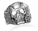 W8082 white brass skull and rose ring thumb155 crop