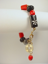 Bracelet with Imitation Cinnabar Dragon Bead and Black Bone beads with D... - $30.00