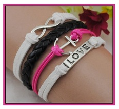 White Pink Black Infinity Symbol Anchor LOVE Charm Multi Layered Bracelet - $5.50