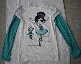 Old Navy Girl's Long Sleeve White and Teal Graphic Shirt - $9.00