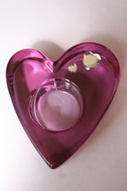 Partylite Purple Heart Heavy Blown Glass Candle Holder - $8.99
