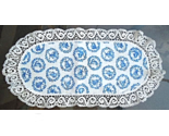 "Vintage Windmill Doily  -  Blue and White - 11 1/2"" x 23""  #4930"