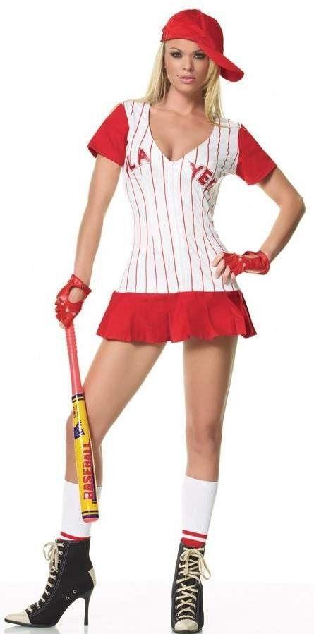 Halloween Costume Lady Baseball Player Mini Dress Sports Uniform Red Size M/L