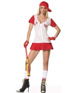 Halloween Costume Lady Baseball Player Mini Dress Sports Uniform Red Siz... - $59.99