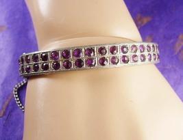 VIntage 1920s Bracelet art deco Pave Rhinestone rhodium hinged bangle  - $125.00