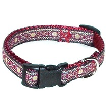 Handmade Dog Collar Burgundy Gold Black Nylon Web Size XS  - $15.50