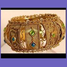 Vintage Gypsy jeweled mesh etruscan fancy Bracelet bangle - $135.00