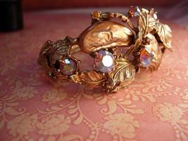 Vintage SIGNED Har Bracelet Big Baroque pearls and rhinestones clamper bangle - $345.00