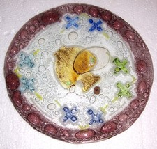 HAND BLOWN MULTI COLORED GLASS DISPLAY PLATE 9 ... - $55.14