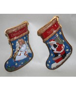 Daughter and Son Pressed Tin Christmas Stockings 1997 Hallmark Ornament - $6.95
