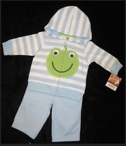 BOYS 3 MONTHS - Carter's - Froggy Face Cotton Knit Light Blue JACKET & P... - $13.49