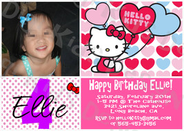 Hello Kitty Birthday Party Personalized Invitation and Thank You Card Pr... - $8.00