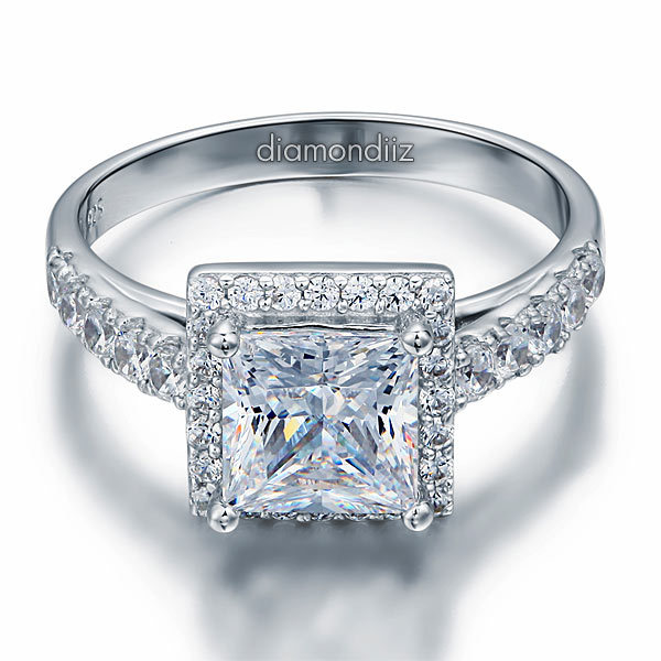 1.5 Ct Princess Cut Diamond Sterling 925 Silver Bridal Wedding Engagement Ring