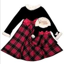 GIRLS  4T & 18-IN DOLLS  - Dollie & Me Black & Fuchsia Plaid DRESSY DRESSES - $26.99