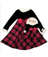 GIRLS  4T & 18-IN DOLLS  - Dollie & Me Black & Fuchsia Plaid DRESSY DRESSES - $26.99