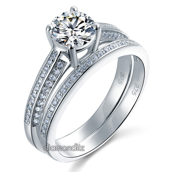 1 Ct Round Diamond Sterling 925 Silver Bridal Wedding Engagement 2-Pc Ring Set
