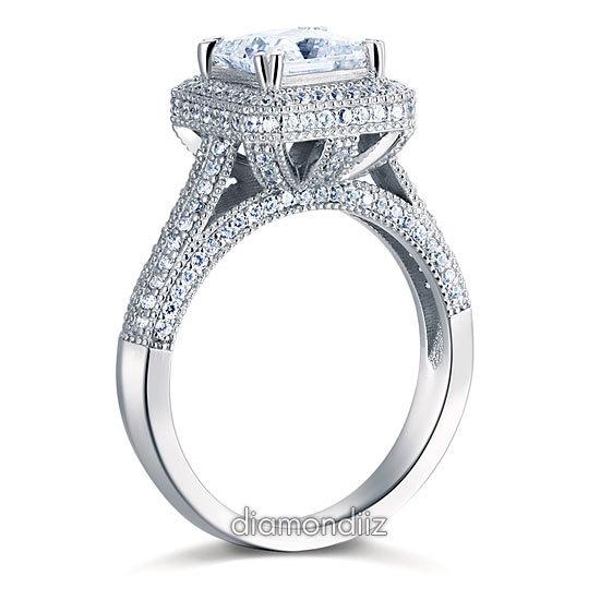 1.5 Ct Princsee Cut Diamond Sterling 925 Silver Bridal Wedding Engagement Ring