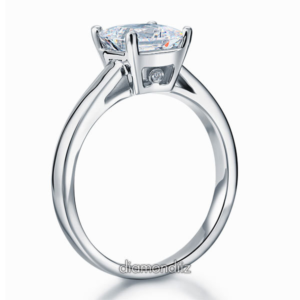Sterling Silver Wedding Cathedral Promise / Engagement Ring 1.5 Ct Lab Diamond
