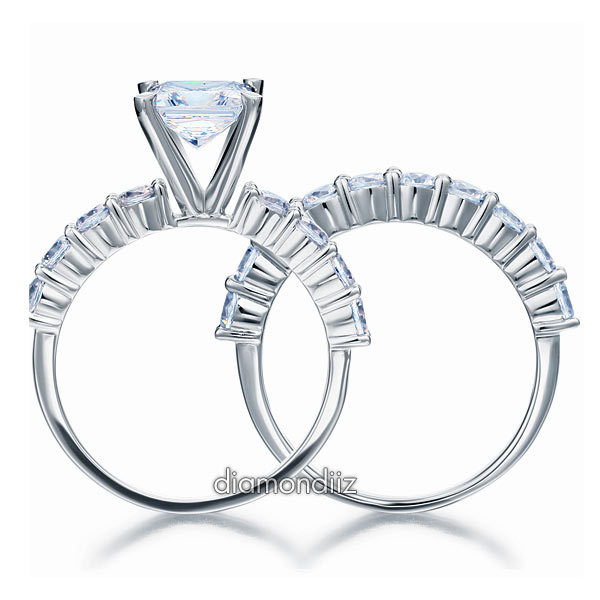 1.5 Ct Princess Cut Diamond Sterling 925 Silver 2-pc Bridal Engagement Ring Set