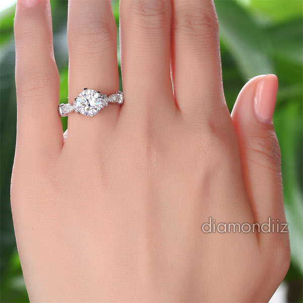2 Ct Lab Diamond Vintage Sterling Affordable Engagement Ring Sterling Silver