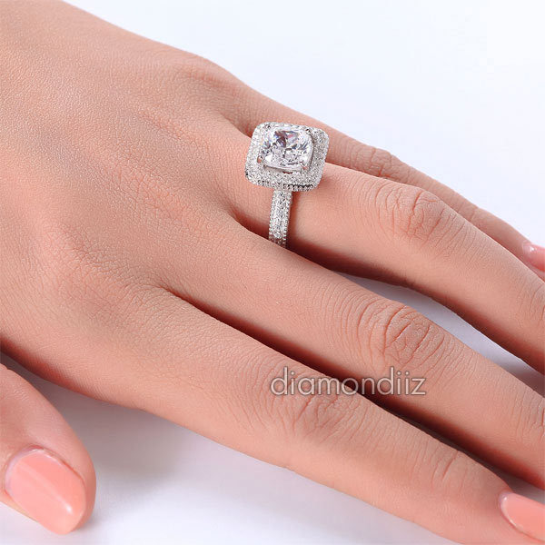 3 Ct Cushion Cut Lab Diamond Vintage Sterling 925 Silver Wedding Engagement Ring