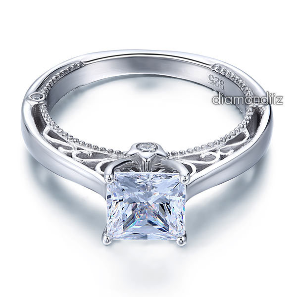 1.5 Ct Princess Diamond Vintage Style Sterling 925 Silver Bridal Engagement Ring