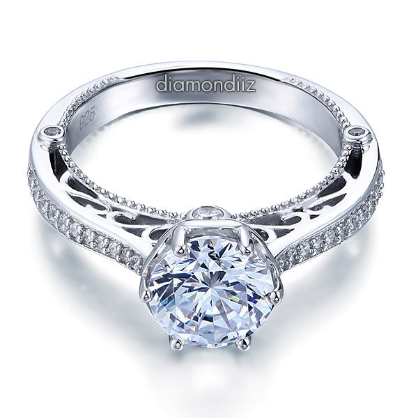 2 Ct Diamond Vintage Style Sterling 925 Silver Bridal Wedding Engagement Ring