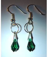 Tiny Green Briolette Swarovski Crystal Dangle Earrings (silver) - $10.00