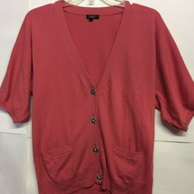 Talbots Womens Cardigan Coral 3/4 Sleeve Embellished Button Pockets Swea... - $9.89