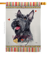 Scottish Terrier Happiness - Impressions Decorative House Flag H110215-BO - $40.97