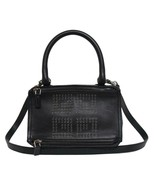 New $2490 Givenchy Small 4G Black Logo Grained Leather Pandora Messenger... - $978.04