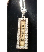 Large Bling Rhinestone Studded Dream Pendant w Silver Plated Chain Link ... - $9.99