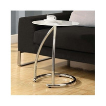 Glass Top Table End table Furniture Room Side Stand Metal  Night Retire ... - $116.51
